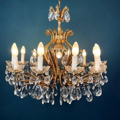 XL vintage crystal chandelier, Italy 1950s