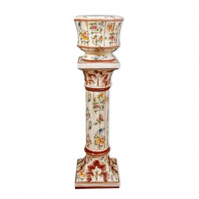 Hand painted Capodimonte pedestal with vase, Italy 19th century