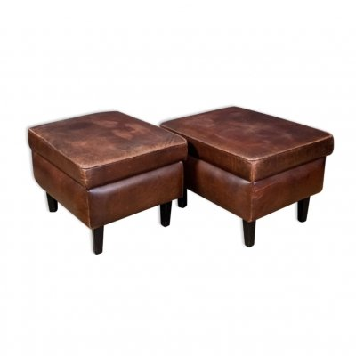 Sheep leather footstool with storage, 1970s