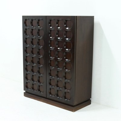 Belgian Brutalist Graphical Mahogany Highboard by Defour, 1970s