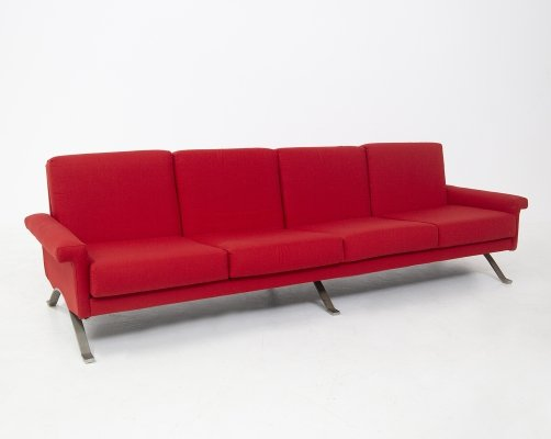 Rare Italian Red Mod. 875 Sofa by Ico Parisi for Cassina, Published 1960s