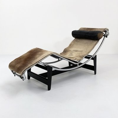 Serial #396 Pony Hide LC4 Lounge Chair by Le Corbusier for Cassina, 1960s