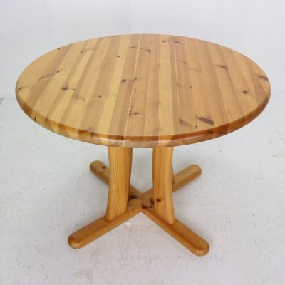 Round Solid Pinewood Dining Table, Denmark 1970's