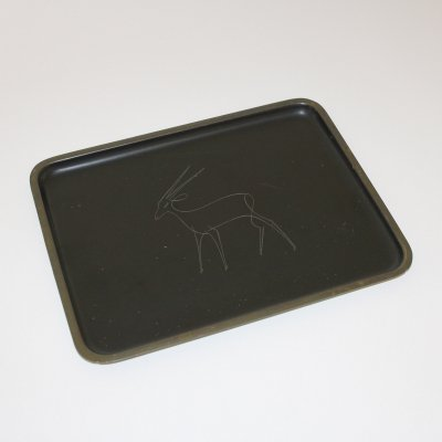 Brass tray with a engraved Antilope by Karl Hagenauer, Vienna 1950s