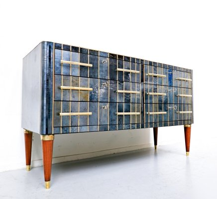 Wood sideboard with blue-black vitrified veneer & brass fitting, Italy 1950's