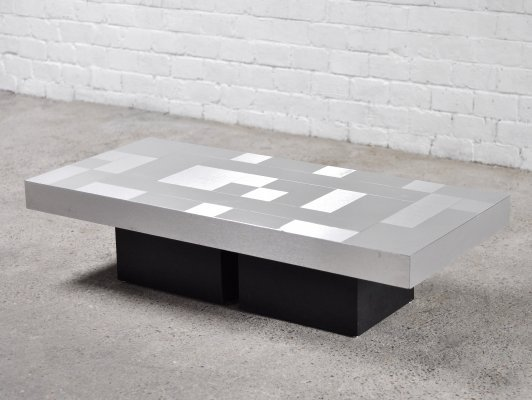 Graphic Brushed Aluminium Coffee Table, Italy 1970's