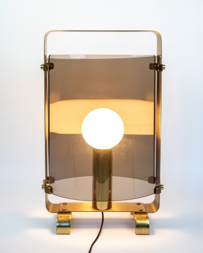 Table Lamp in Brass with Smoked Glass, 1960s