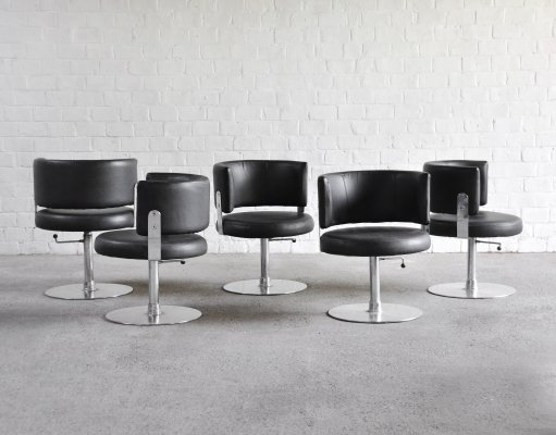 Set of 5 Steel & Leather Chairs by Formanova, Italy 1970's