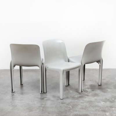 Set of 3 Selene dining chairs by Vico Magistretti for Artemide, 1960s