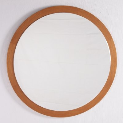 Large Round light wooden wall mirror, 1960s