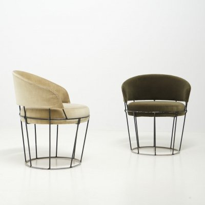 Pair of Wireframe Cocktail Chairs, 1950's