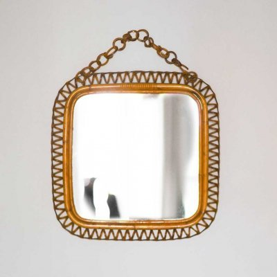 Bamboo And Wicker mirror, 1950s