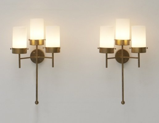 Set of Two Large Brass Wall Lamps, 1960's