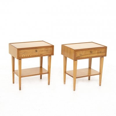 Pair of Italian Wooden Bedside Tables, 1950s