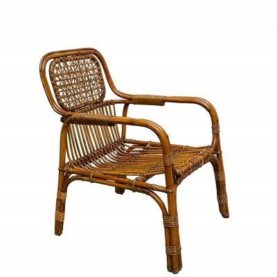 Armchair with armrests in rattan & wicker by Vivai del Sud, 1960