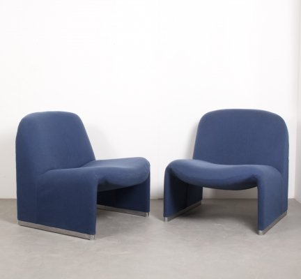 Pair of Alky Blue Chairs by Giancarlo Piretti for Castelli, 1970s