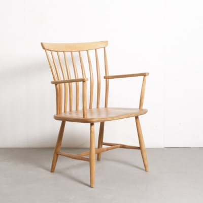 Beech Spindle Back Chair by Swedish Maker Akerblom, 1960s