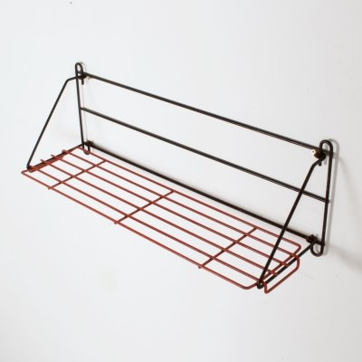 Foldable Black & Red Metal Wall Hanging Rack, Holland 1960s