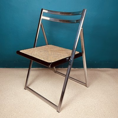 7 x Mid-century cane folding dining chair, Italy 1970s