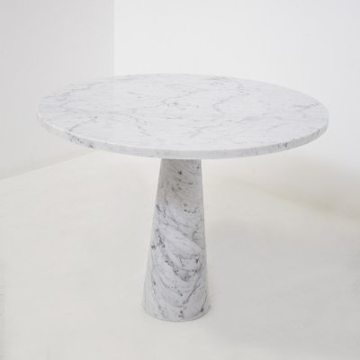 Angelo Mangiarotti for Skipper Center Table in White Carara Marble, Labeled 1970s