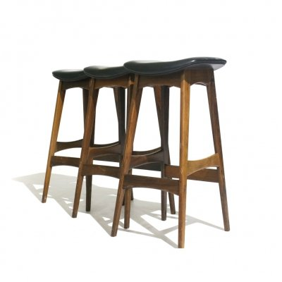 Set of 3 Rosewood Bar Stools by Erik Buch for Dyrlund, 1960s