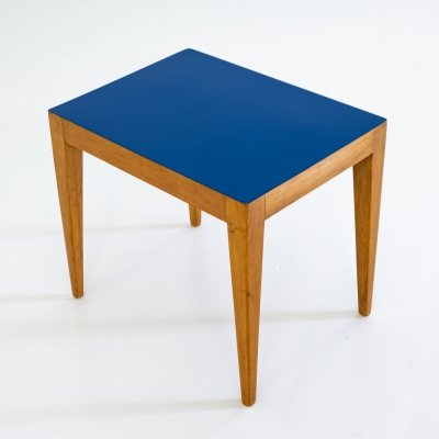 Small side table in ash with a blue laminate top, 1960s
