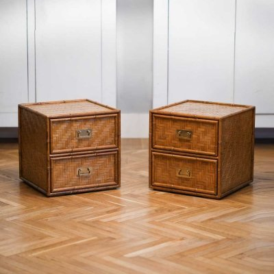 Pair of bamboo side tables, 1980s