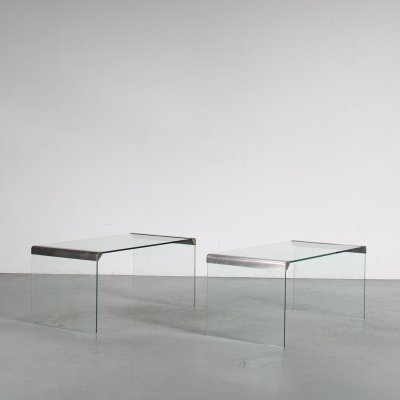 1970s Pair of rectangular side tables by Gallotti & Radice, Italy