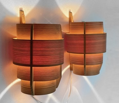 Pair of pine wood wall lights/sconces by Hans-Agne Jakobsson for Ellysett AB, 1960s