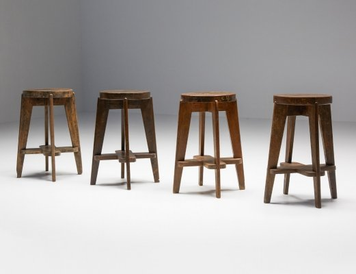Set of 4 Chandigarh Stools 'CB' by Pierre Jeanneret, 1965
