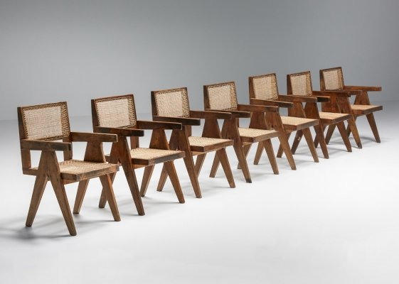 Set of Chandigarh PJ-SI-28-B Pierre Jeanneret Office/Dining Cane Chairs, 1950s