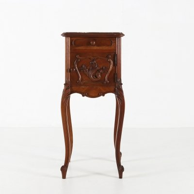 Nightstand in marble & wood, 1940s