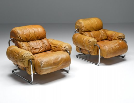 Tucroma Lounge Chairs set by Guido Faleschini for Pace Collection, 1970's