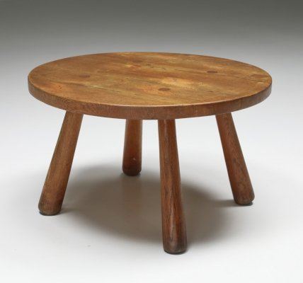 Mid-Century Modern Rustic Round Coffee Table, 1950's