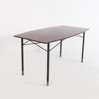 Italian Dining Table by RB Italia in Wood, Brass & Iron