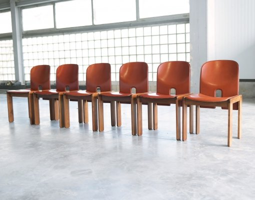 6 x model 121 dining chair by Afra Scarpa & Tobia Scarpa for Cassina, 1970s