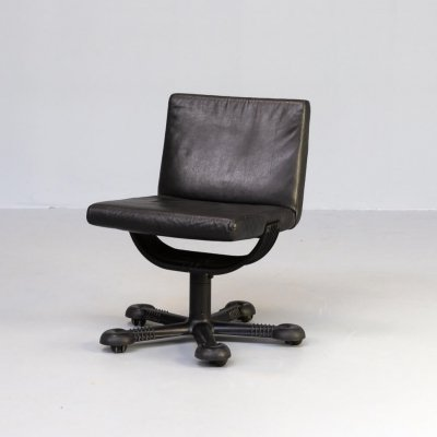 70s Tobia & Afra Scarpa 'Mix' leather swivel chair for Molteni