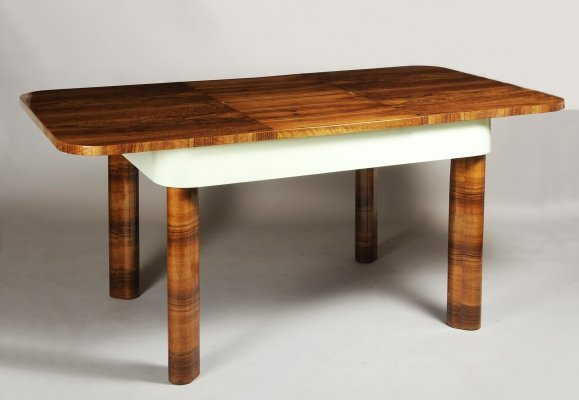 Functionalism Extendable table in walnut, Czechia 1930s