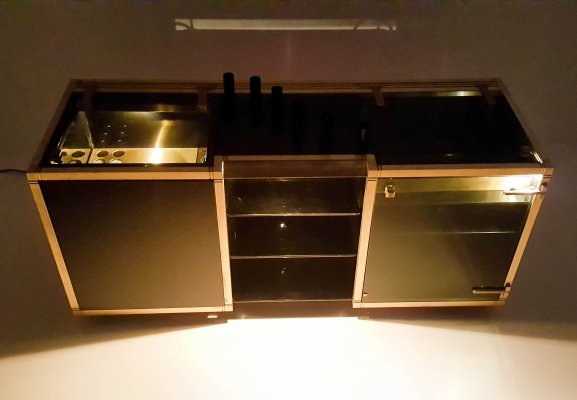 Willy Rizzo Bar with brass interior, six glasses & fridge