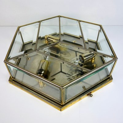 Mid-century brass ceiling or wall lamp, Italy 1970s
