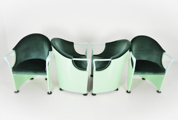 Set of 4 armchairs by Lugi Origlia marked Tronetto, 1970s