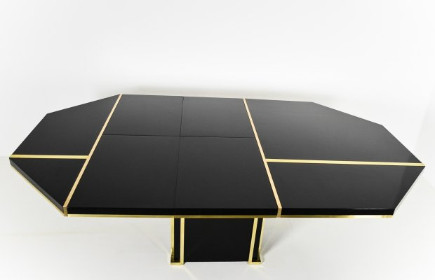 Extendable dining table in black & brass by Jean Claude Mahey, 1970s