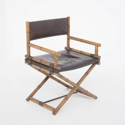 McGuire Director's Chair in Leather, Bamboo & Brass