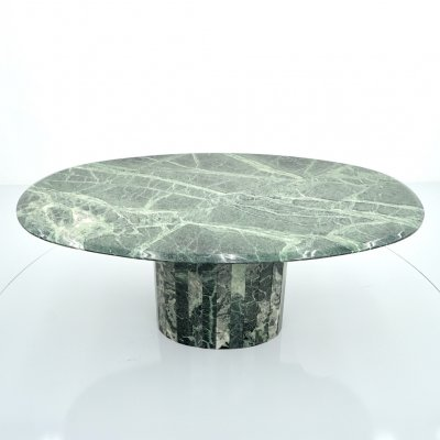 Oval Green Marble Dining Table, Italy 1970s