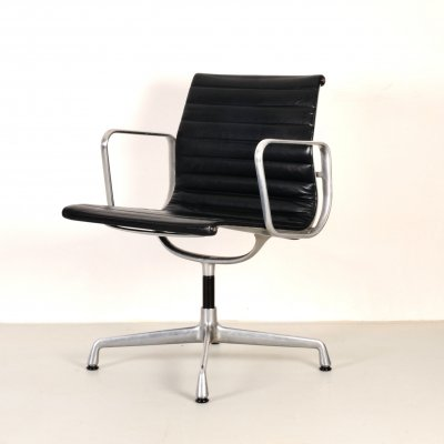 Vintage leather EA 108 swivel chair by Charles & Ray Eames for Herman Miller, 1980s