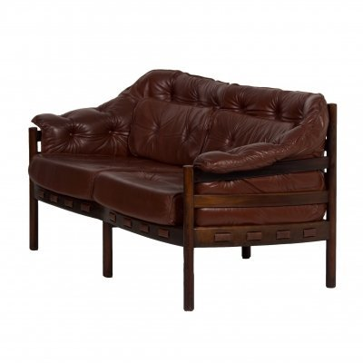 Brown Leather Two-Seater Sofa by Sven Ellekaer for Coja, 1960s