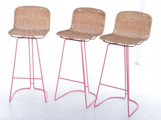 Italian set of 3 cane & metal barstools by Cidue, 1980s