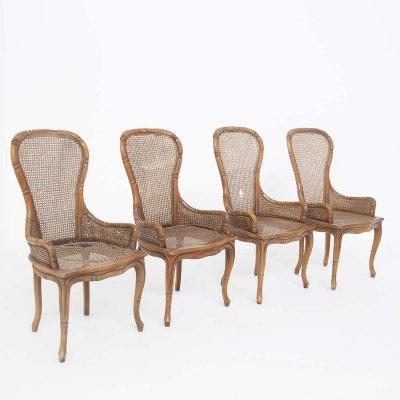 Italian Four Chairs by Giorgetti in Imitation Bamboo & Rattan