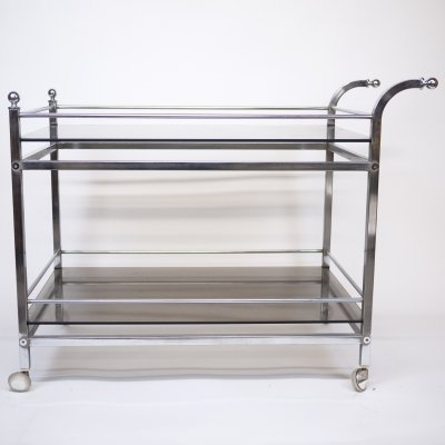 Vintage Chrome & Smoked Glass Drinks Trolley, 1970s
