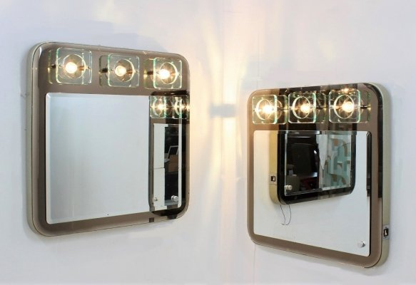 Pair of Fontana Arte large mirrors with light, 1970s